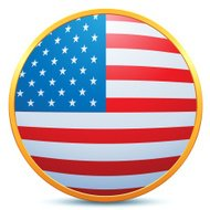 USA Flag Gold Button