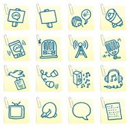 Media and message post it note icon set