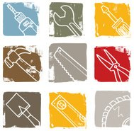 Tool and equipment grunge block icon set