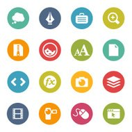 Set of 16 colorful circular icons