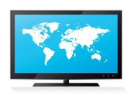 Highly detailed world map on lcd flat screen tv