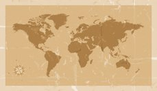 Highly detailed world map with compass vintage style