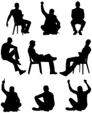 Silhouette of men in different poses