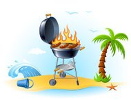Barbecue grill on the beach