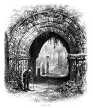 Furness Abbey, Cumbria - Victorian engraving