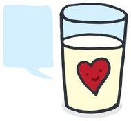 Glass of milk with speech bubble