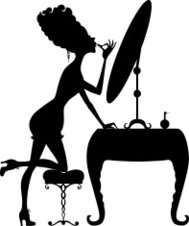 Silhouette of a girl with lipstick at the mirror