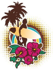 Surfer walking with palm trees and hibiscus