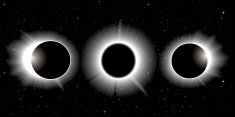 Vector solar eclipse, three stages