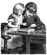 Victorian young woman and child doing a wooden puzzle