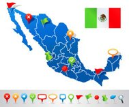Map of Mexico with navigation icons