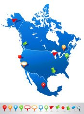 Map of North America with navigation icons