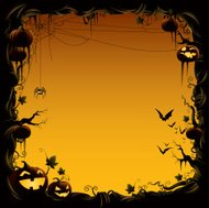 halloween border made of pumpkin vine with bats and spider