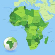 High Detail Green Africa Map