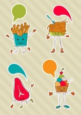 Colourful food cartoons with dialogue balloon