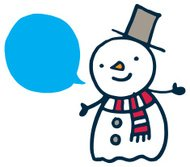 Cute snowman with blue speech bubble