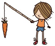 Young person holding carrot on a stick