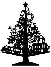 Christmas Tree silhouette with Toys