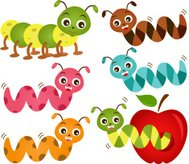 Cute vector Icons : Animal : Colorful Worms