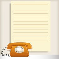 Retro style telephone with blank note page on background.