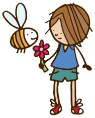 Boy with a flower and bee