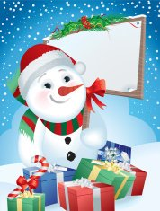 Christmas Snowman Carrying a  Festive Sign with Gifts Scene