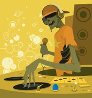 Cartoon Zombie DJ Holding Microphone and Turntables