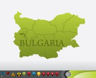 Bulgaria map with navigation icons