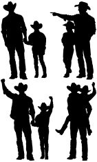 Silhouette of cowboys