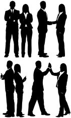 Silhouette of business couples