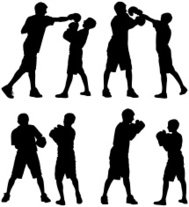 Silhouette of people boxing