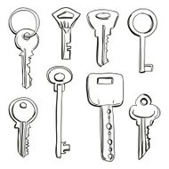 Keys collection in black and white
