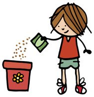 Boy sowing seeds into a plant pot