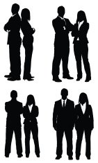 Silhouette du couple d'affaires