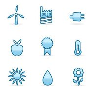 Ecology icons in blue