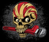 Lightening Skull with Pipe Wrench