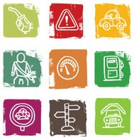 Petrol gasoline and car related block icon set
