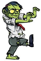 Cartoon zombie office worker with brains exposed