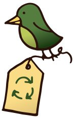 Little green bird with a recycling label