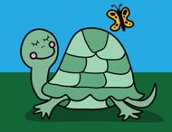 Happy Turtle With Butterfly