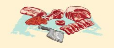 Various meat cuts of raw beef and clever