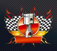 Checkered flags with piston emblem
