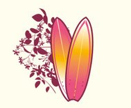 Surfboard Emblem with flowers
