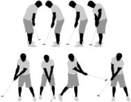 Multiple images of a golfer