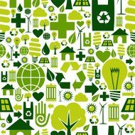 Seamless green environment icons pattern