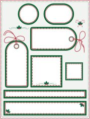 Christmas, Winter Labels, Tags, Stickers, Background Set: Green,