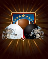 Football Helmets with Ball and Star Shield