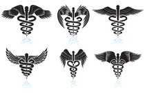 Medical Caduceus black & white royalty free vector icon set
