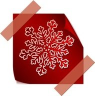 Beautiful paper snowflake over red sticker.