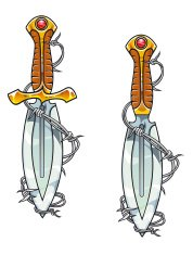 Dagger with barbed wire tattoo